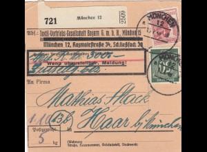 BiZone Paketkarte 1948: München nach Haar, Wertkarte, Selbstbucher