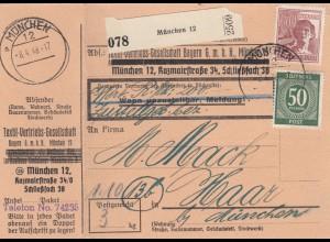 BiZone Paketkarte 1948: München 12 nach Haar, Wertkarte, Selbstbucher