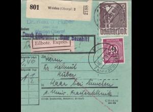BiZone Paketkarte 1947: Weiden nach Haar, besonderes Formular, Eilbote Exprès