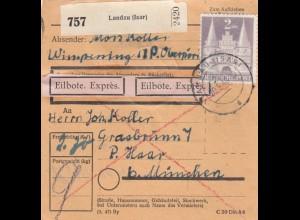BiZone Paketkarte 1948: Landau Isar nach Haar, Eilbote Exprès