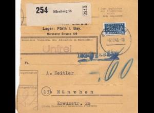 BiZone Paketkarte 1948: Nürnberg nach München, Selbstbucher, Nachgebühr, Notopf.