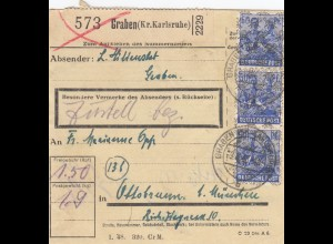 BiZone Paketkarte 1948: Graben Kr. Karlsruhe nach Ottobrunn