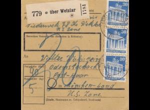 BiZone Paketkarte 1948: Niederwerk/Wetzlar nach München-Land, Nachgebühr