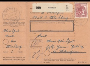 BiZone Paketkarte 1947: Miesbach nach Eglfing Haar, mit Doppel-Notpaketkarte