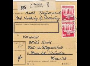 BiZone Paketkarte 1948: Salching über Straubing nach Haar, Heilanstalt