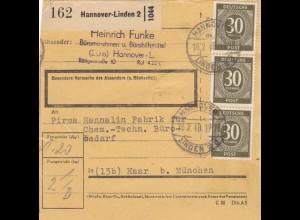 BiZone Paketkarte 1948: Hannover-Linden nach Chem.-Techn. Büro in Haar