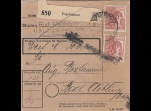 BiZone Paketkarte 1947: Ergoldsbach n. Bad Aibling, Notfor. Feldpost, Wertkarte