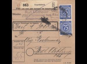BiZone Paketkarte 1947: Ergoldsbach n. Bad Aibling, Wertkarte, Notfor. Feldpost