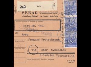 BiZone Paketkarte 1948: Culmitz Naila nach Haar, Selbstbucher, Wertkarte