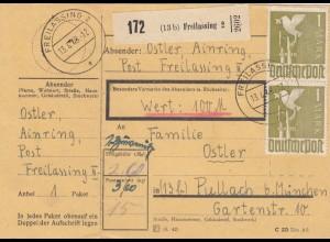 BiZone Paketkarte 1948: Ainring nach Pullach, Wertkarte