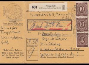 BiZone Paketkarte 1948: Trappstadt n. München, Wertkarte, mit Notpaketkarte