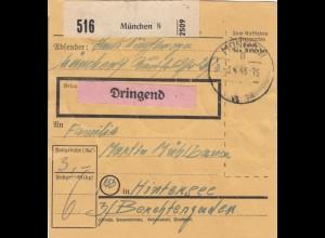 BiZone Paketkarte 1948: München nach Hintersee, Dringend