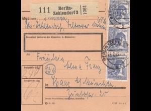 BiZone Paketkarte 1948: Berlin-Zehlendorf nach Haar