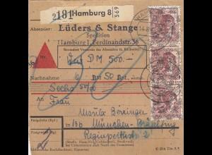 BiZone Paketkarte 1948: Hamburg nach Gräfeling, Wertkarte, Nachnahme