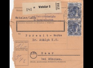 BiZone Paketkarte 1948: Wetzlar Lahn nach Haar