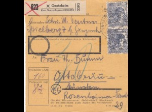 BiZone Paketkarte: Gnotzheim nach Ottobrunn, Nachgebühr