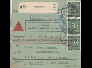 BiZone Paketkarte 1946: Augsburg nach Biberg, Nachnahme, besonderes Formular