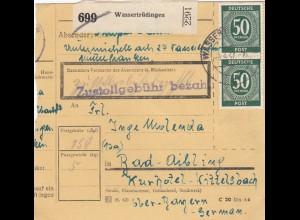 BiZone Paketkarte 1947: Wassertrüdingen nach Bad Aibling, Kurhotel