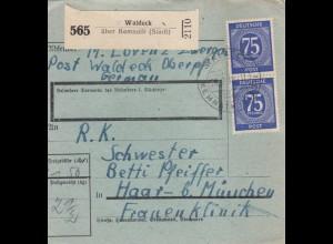 BiZone Paketkarte 1948: Waldeck über Kemnath nach Haar, besonderes Formular