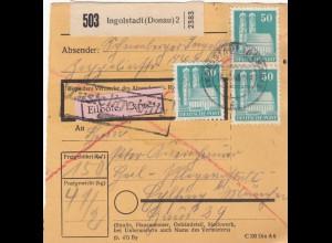 BiZone Paketkarte 1948: Ingolstadt nach Eglfing, Heilanstalt, Eilbote Exprès