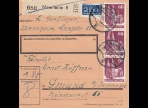 BiZone Paketkarte 1948: Mannheim nach Gmund am Tegernsee, Notopfer