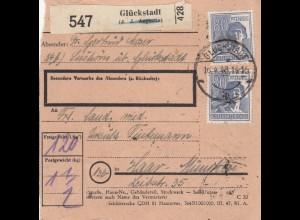 BiZone Paketkarte 1948: Glückstadt Selbstbucher -Lushorn- nach Haar bei München