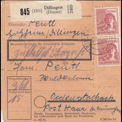 BiZone Paketkarte 1947: Holzheim Dillingen nach Ödenstockach