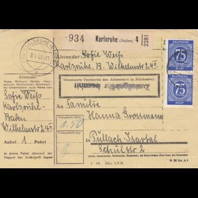 BiZone Paketkarte 1948: Karlsruhe nach Pullach Isartal