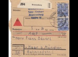 BiZone Paketkarte 1948: Brannenburg nach Haar b. München, Nachnahme
