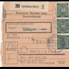 BiZone Paketkarte 1947: Gunzenhausen nach Molkerei Thal Schönau, Selbstbucher