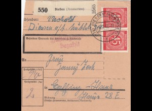 BiZone Paketkarte 1947: Dießen nach Eglfing Haar