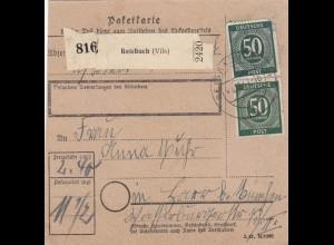 BiZone Paketkarte 1947: Reisbach nach Haar, Notformular Feldpostbriefe