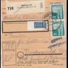 BiZone Paketkarte 1948: München 25 nach Finsterwald, Notopfer