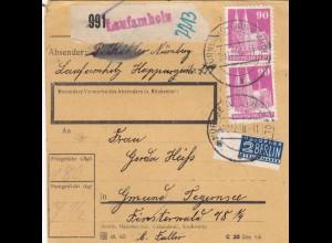 BiZone Paketkarte 1948: Laufamholz Nürnberg nach Gmund, Notopfer
