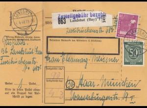 BiZone Paketkarte 1948: Landshut nach Haar, mit Doppel-Notpaketkarte