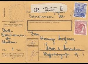 BiZone Paketkarte 1948: Petershausen nach Haar, mit Doppel-Notpaketkarte
