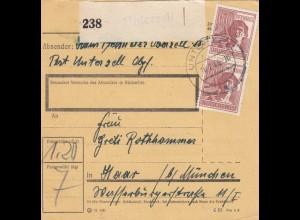 BiZone Paketkarte 1948: Unterzell nach Haar bei München