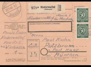 BiZone Paketkarte 1948: Niederwalluf nach Putzbrunn, mit Notpaketkarte