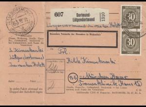 BiZone Paketkarte 1948: Dortmund-Lütgendortmund nach München, mit Notpaketkarte
