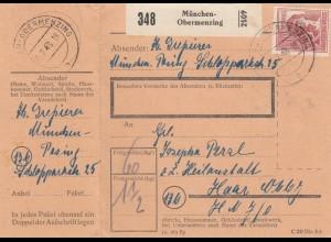 BiZone Paketkarte 1948: Obermenzing nach Haar, mit Doppel-Notpaketkarte