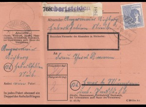 BiZone Paketkarte 1948: Herbertsfelden nach Haar, mit Notpaketkarte