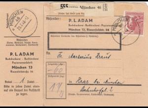 BiZone Paketkarte 1948: München nach Haar, Selbstbucher, mit Notpaketkarte