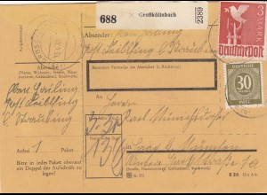 BiZone Paketkarte 1948: Großköllnbach nach Haar, mit Notpaketkarte