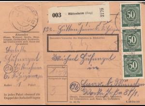 BiZone Paketkarte 1948: Hüttenheim nach Haar, mit Notpaketkarte