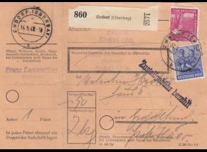 BiZone Paketkarte 1948: Endorf nach Eglfing, mit Notpaketkarte