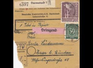 BiZone Paketkarte 1948: Darmstadt nach Haar, Dringend, Selbstbucher