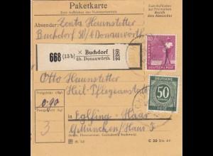 BiZone Paketkarte 1947: Buchdorf über Donauwörth nach Eglfing, Heilanstalt