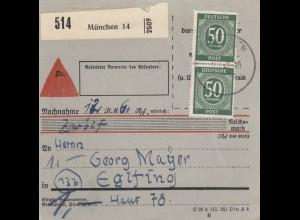 BiZone Paketkarte 1948: München nach Eglfing, Nachnahme, besonderes Formular