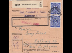 BiZone Paketkarte 1948: Bad Neustadt Saale nach Eglfing