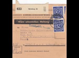 BiZone Paketkarte 1948: Nürnberg nach Hart b. Garching, Selbstbucher